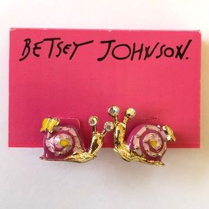 NWT Betsey Johnson Pink Yellow Snails Earrings